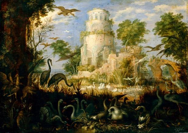 Torre in rovina presso ruscello degli uccelli, R.Savery